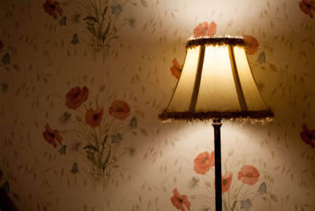 photo of a traditional lamp against floral wallpaper