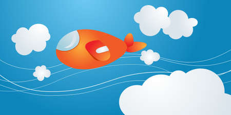 cartoony airplane in the cloudy blue sky Illustration