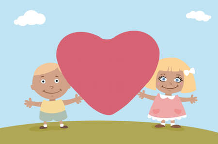 boy and girl holding a big heart