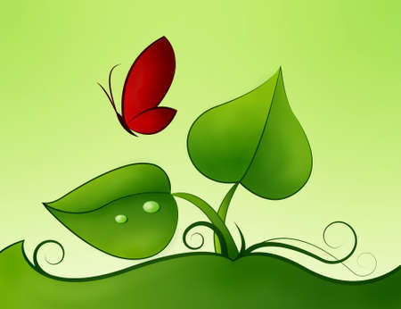 nice and fresh green leaves and red butterfly