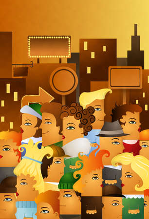 illustration of people crowding in a high street of a big city