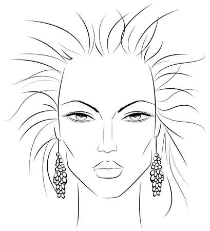 sketch of a female face which can be a perfect template for makeup techniques