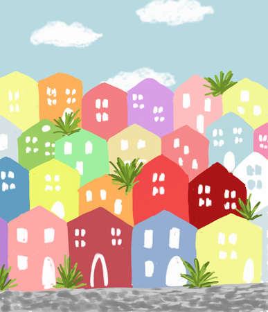 slightly careless and childish picture of painted houses in seaside town 스톡 콘텐츠