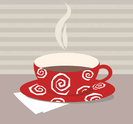 red teacup with white pattern on folded tissue Stock Photo