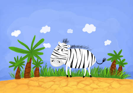 slightly childish and careless picture of funny zebra in Africa
