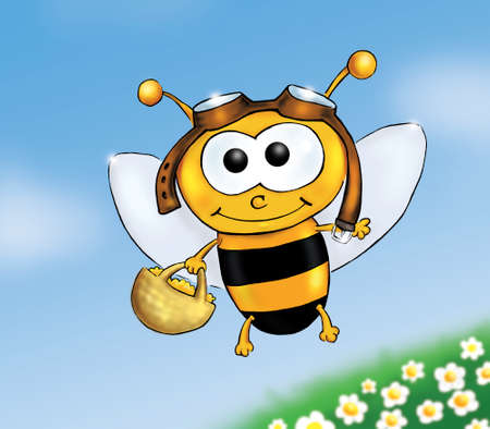 cheerful cartoon bee piloting over meadow with basket full of pollen Stock Photo