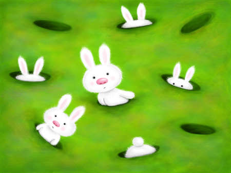 cute white bunnies curiously looking out of holes in the ground