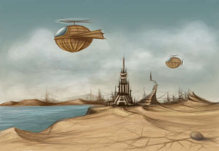 fantasy landscape with a decaying tower and dirigibles in the sky