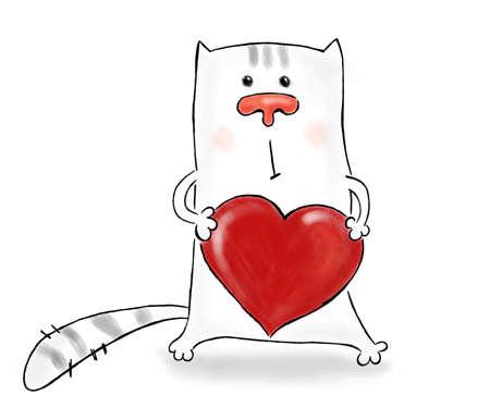 cartoon picture of a cat embracing a big heart