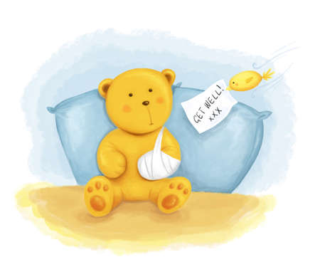 teddy bear with broken arm and little birdie with get well greeting Stock Photo