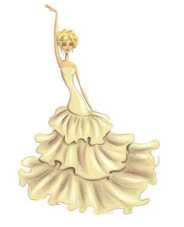 fashion illustration featuring a happy bride in posh creamy dress