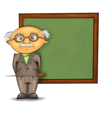 funny cartoon professor standing by the blackboard against white background Stock Photo