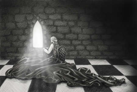 a pencil drawing of a girl doing needlework in a dark medieval castle Banco de Imagens