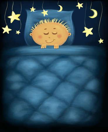 little boy under dark blue quilt with golden stars around