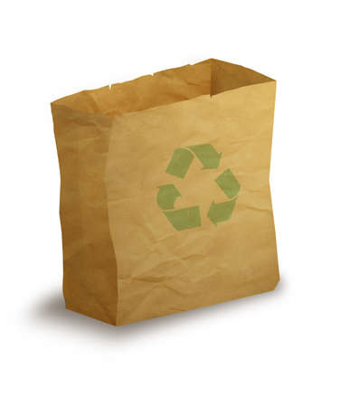 illustration of paper bag with green recycling arrows on it