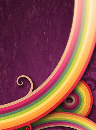 colorful and curly lines against textured purple background