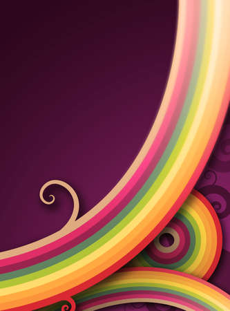 colorful and curly lines against plain purple background Banco de Imagens
