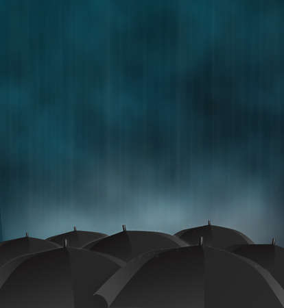 gloomy picture of dark rainy sky and black umbrellas