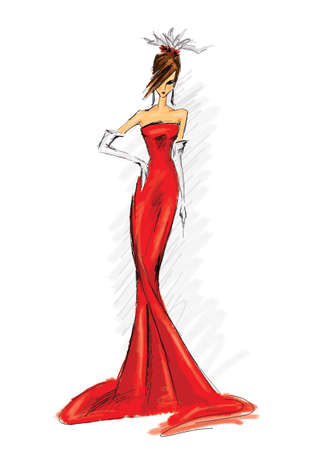 fashion illustration of model in long red dress Stock Photo