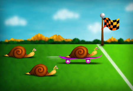 funny colorful illustration with racing snails including one outrageous cheat