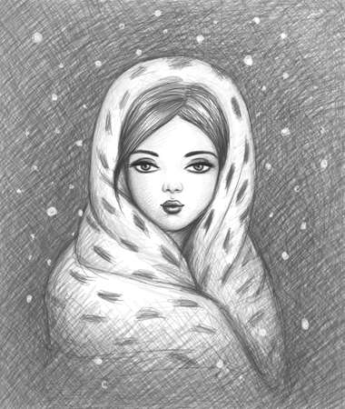 portrait of a girl wrapped up in a warm shawl Stock Photo