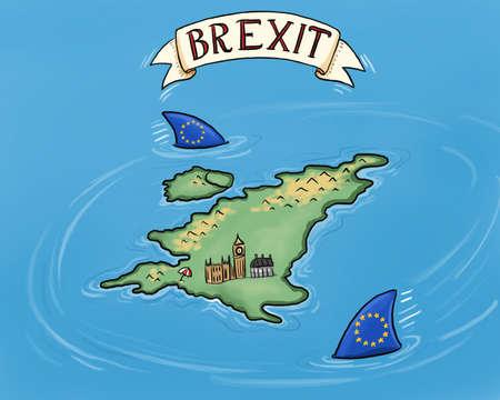 hand-drawn illustration showing EU sharks circling around Britain Reklamní fotografie