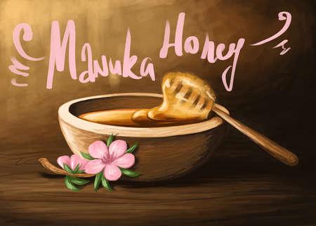 digital illustration of a wooden bowl of manuka honey Stock Photo