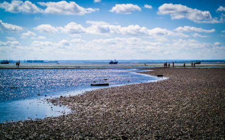photo of the pebbly Chalkwell beach during low tide hours Editorial
