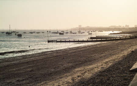 photo of Chalkwell beach in Essex, UK, just before sunset