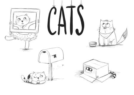 pencil sketches of cute cats in different situations Stock Photo
