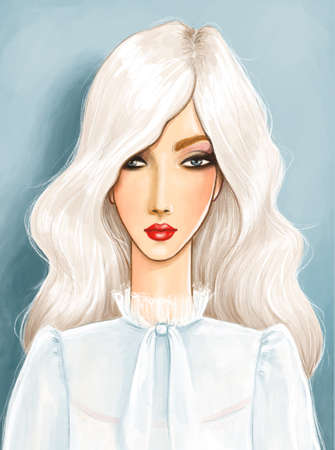 fashion illustration featuring a beautiful platinum blonde