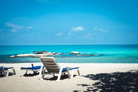 Sea White sand beach with blue sea Chaweng Beach, Koh Samui, Thailand Фото со стока