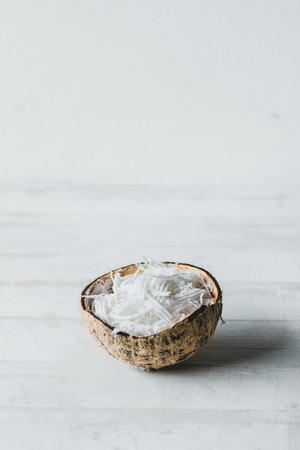 Scrambled coconut in coconut shell