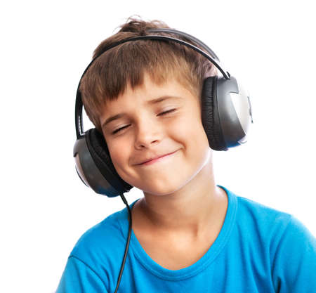 The young boy is enjoy the music