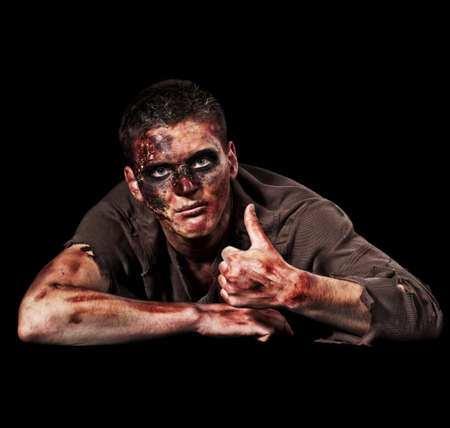 deadman: The scary zombie showing a thumbs up Stock Photo