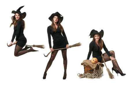 collage with three witches in different poses, flies on a broom, standing and looking up, sitting on a box 写真素材