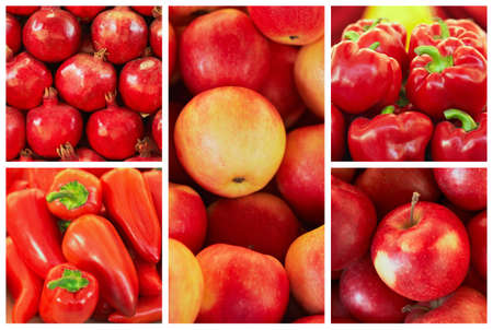 collection of red fruit and vagetable backgrounds, pomegranate, red apples, peppers, paprika photo