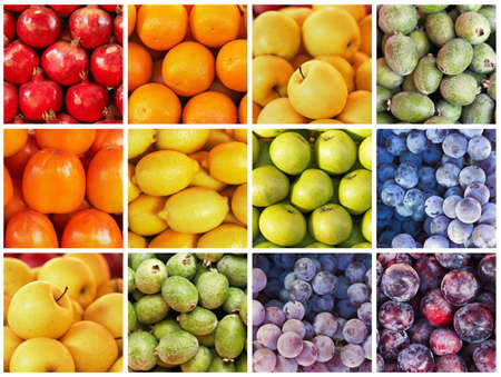 collection of rainbow fruit and vagetable backgrounds, pomegranate, orange, persimmon, lemon, apple, grapes, plums, feijoa photo