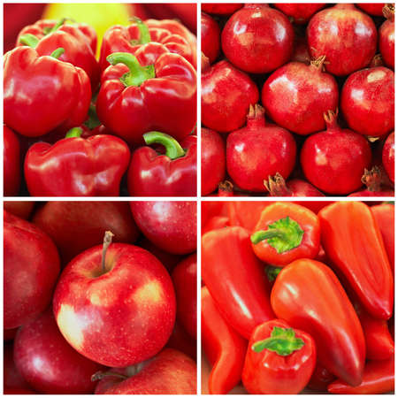 Red ripe fruit and vegetables in the collage photo