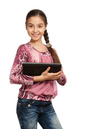 cute girl with a Digital Tablet, isolated on white photo
