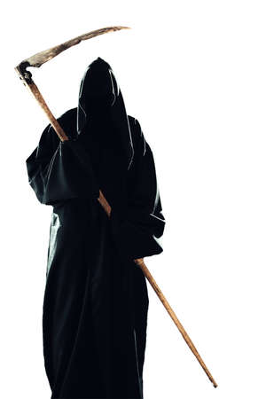 grim reaper: scary scytheman isolated