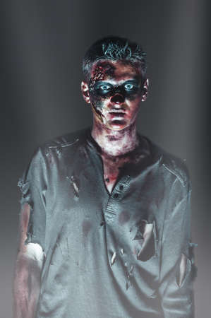 scary zombie in the rays photo