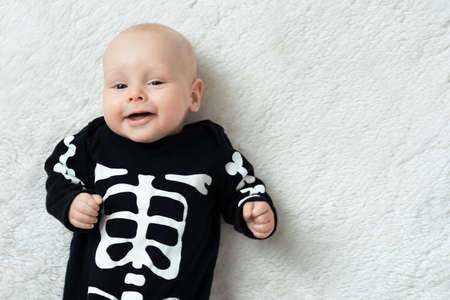 Little baby dressed funny skeleton photo