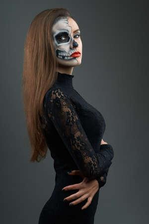 beautiful woman with make-up skeleton photo