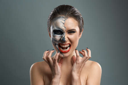 beautiful woman with make-up skeleton evil photo