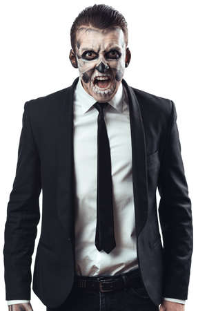 furious businessman with makeup skeleton photo