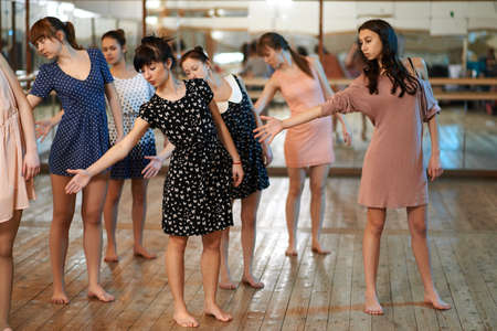 dancing woman: noob Girls learn to dance for dance lessons Stock Photo