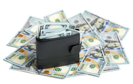 crowded: crowded wallet on dollar bills Stock Photo