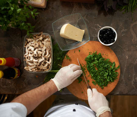 chops: Cook chops parsley first-person view