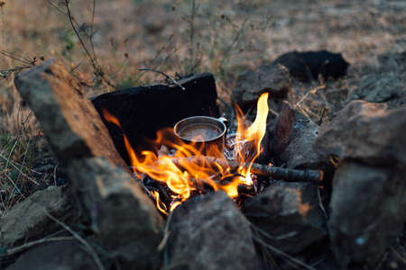 campfire: coffee cooked over a campfire on the nature